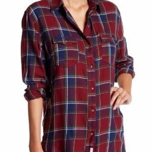 Melrose And Market Burgundy Blue Plaid Button Up